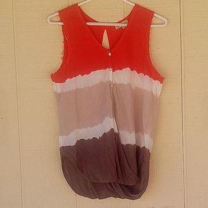 Sleeveless Democracy Top Knotted Front  L